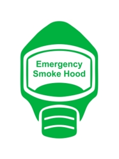 Emergency Escape Smoke Hood Mask Sign, © Egress Group 7