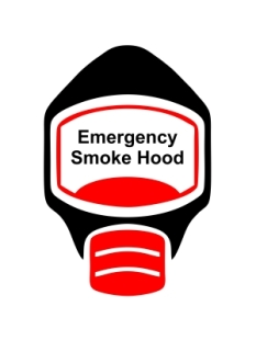Emergency Escape Smoke Hood Mask Sign, © Egress Group 8
